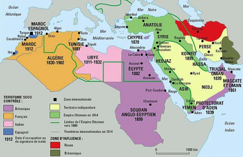 Carte du Moyen-Orient en 1914.